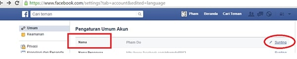 cách đổi tên facebook 1 chữ